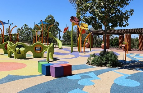 Colorful Playground Surface with Musical Notes