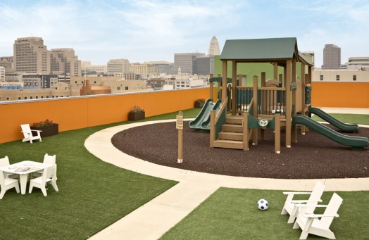 Artificial Grass Surrounding Rooftop Playground