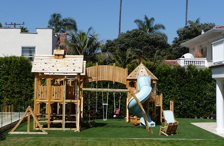 Backyard Playground with Synthetic Turf