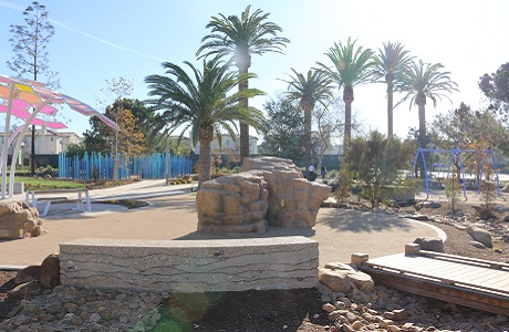 USSA Polystar Poured in Place Playground Surfacing Combined with Rubber Mulch for a Natural Look
