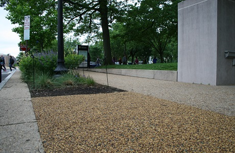 Pervious Rubber Pavement Designed to Compliment Stone Sidewalk in front of the Smithsonian Museum