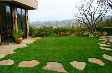 Synthetic Turf Front Yard Luxury Home