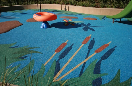 Playground Surface with Pond Theme